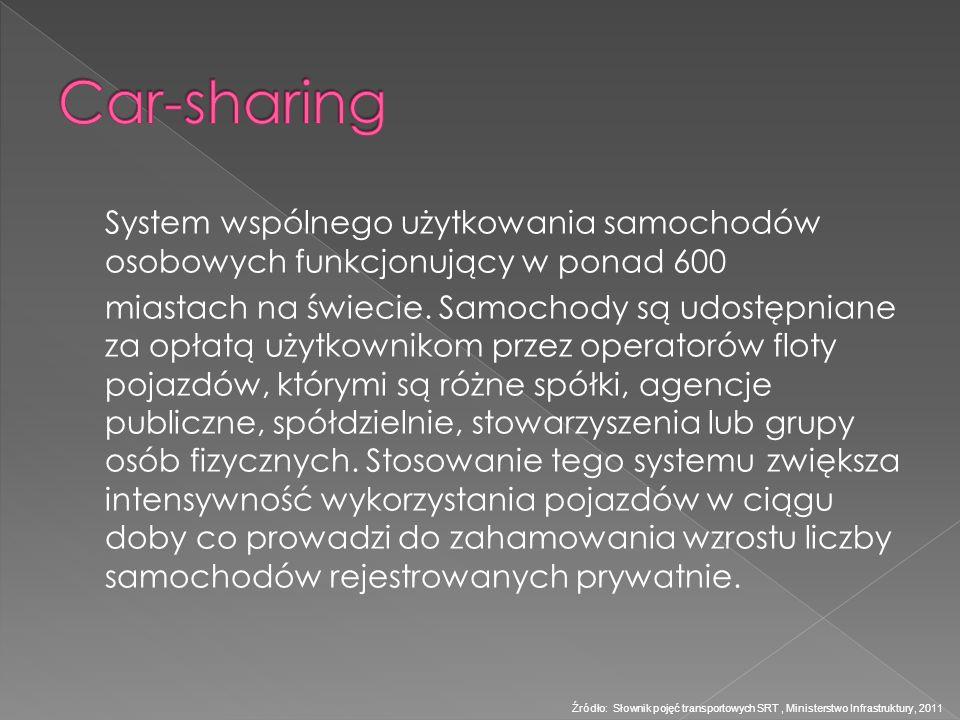 System wspólnego użytkowania samochodów osobowych funkcjonujący w ponad 600 miastach na świecie. Samochody są udostępniane za opłatą użytkownikom prze