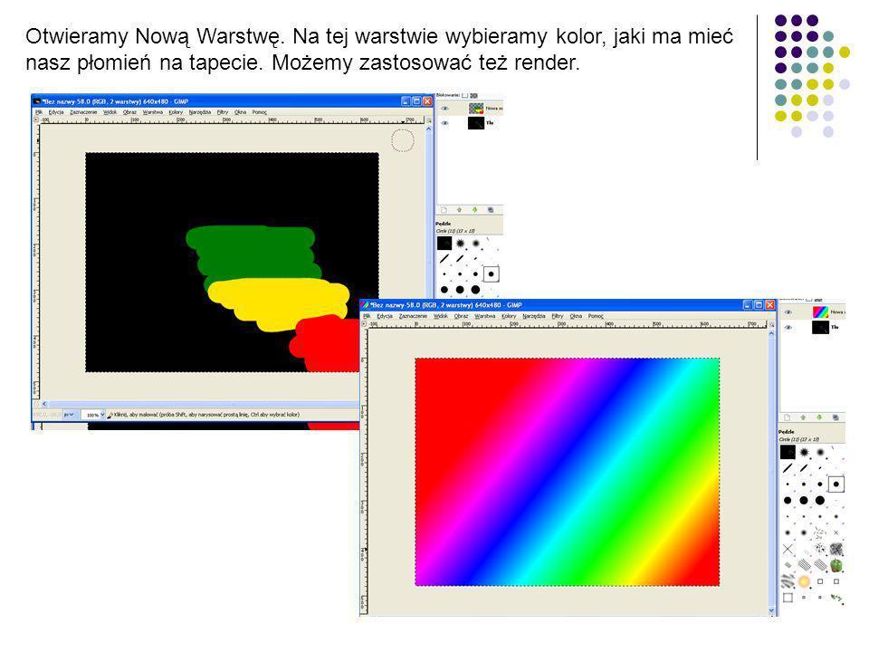 Otwieramy Nową Warstwę. Na tej warstwie wybieramy kolor, jaki ma mieć nasz płomień na tapecie. Możemy zastosować też render.