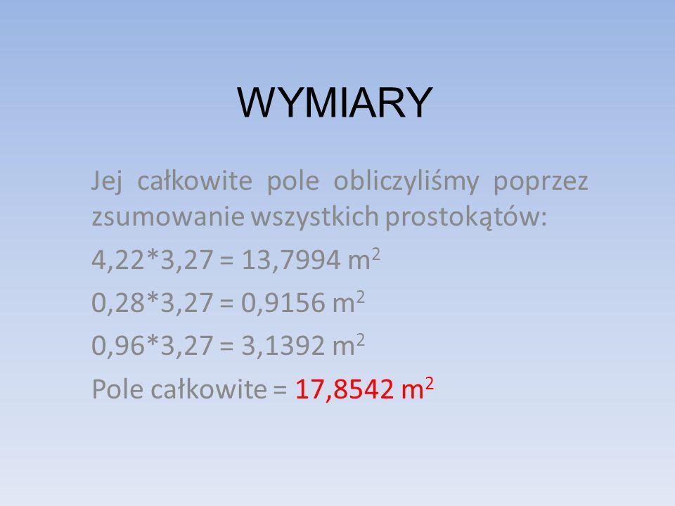 WYMIARY Jej całkowite pole obliczyliśmy poprzez zsumowanie wszystkich prostokątów: 4,22*3,27 = 13,7994 m 2 0,28*3,27 = 0,9156 m 2 0,96*3,27 = 3,1392 m 2 Pole całkowite = 17,8542 m 2