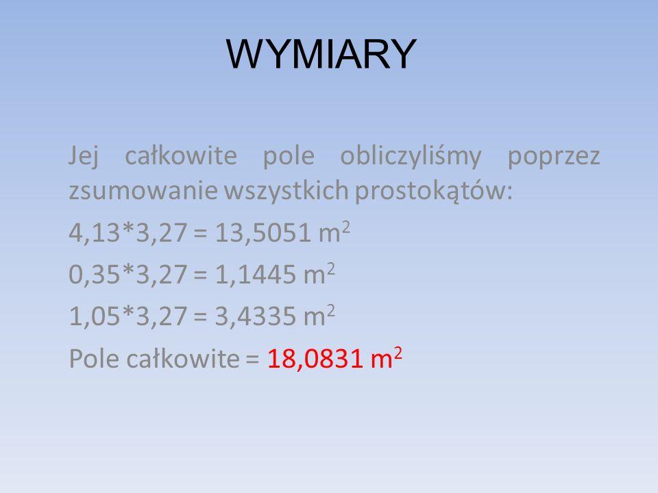 WYMIARY Jej całkowite pole obliczyliśmy poprzez zsumowanie wszystkich prostokątów: 4,13*3,27 = 13,5051 m 2 0,35*3,27 = 1,1445 m 2 1,05*3,27 = 3,4335 m 2 Pole całkowite = 18,0831 m 2
