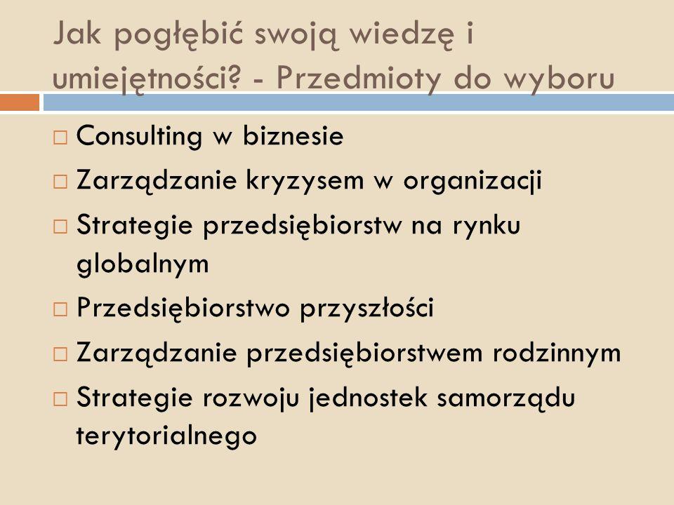 Jak pogłębić swoją wiedzę i umiejętności? - Przedmioty do wyboru Consulting w biznesie Zarządzanie kryzysem w organizacji Strategie przedsiębiorstw na