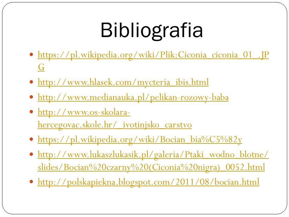 Bibliografia https://pl.wikipedia.org/wiki/Plik:Ciconia_ciconia_01_.JP G https://pl.wikipedia.org/wiki/Plik:Ciconia_ciconia_01_.JP G http://www.hlasek