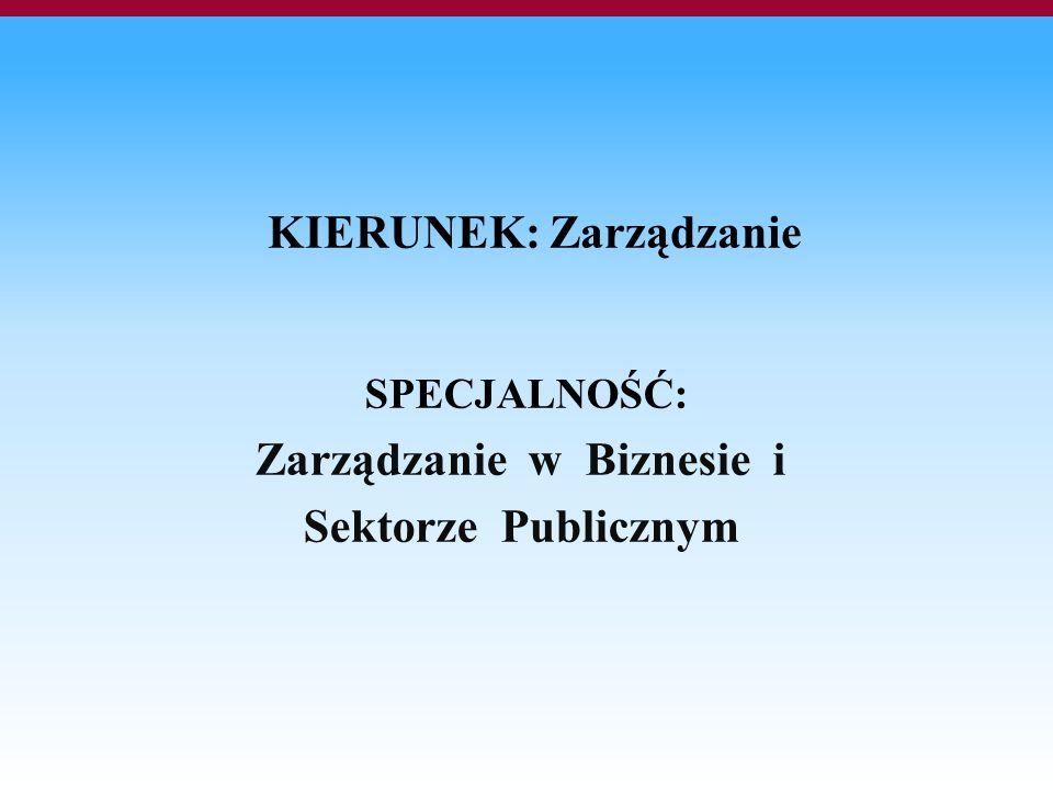 KIERUNEK: Zarządzanie SPECJALNOŚĆ: Zarządzanie w Biznesie i Sektorze Publicznym