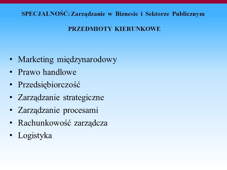 SPECJALNOŚĆ: Zarządzanie w Biznesie i Sektorze Publicznym PRZEDMIOTY KIERUNKOWE Marketing międzynarodowy Prawo handlowe Przedsiębiorczość Zarządzanie strategiczne Zarządzanie procesami Rachunkowość zarządcza Logistyka