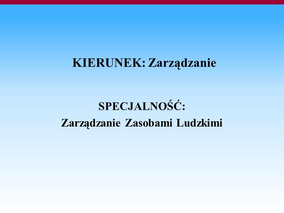 KIERUNEK: Zarządzanie SPECJALNOŚĆ: Zarządzanie Zasobami Ludzkimi
