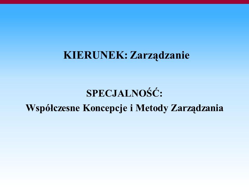 KIERUNEK: Zarządzanie SPECJALNOŚĆ: Współczesne Koncepcje i Metody Zarządzania