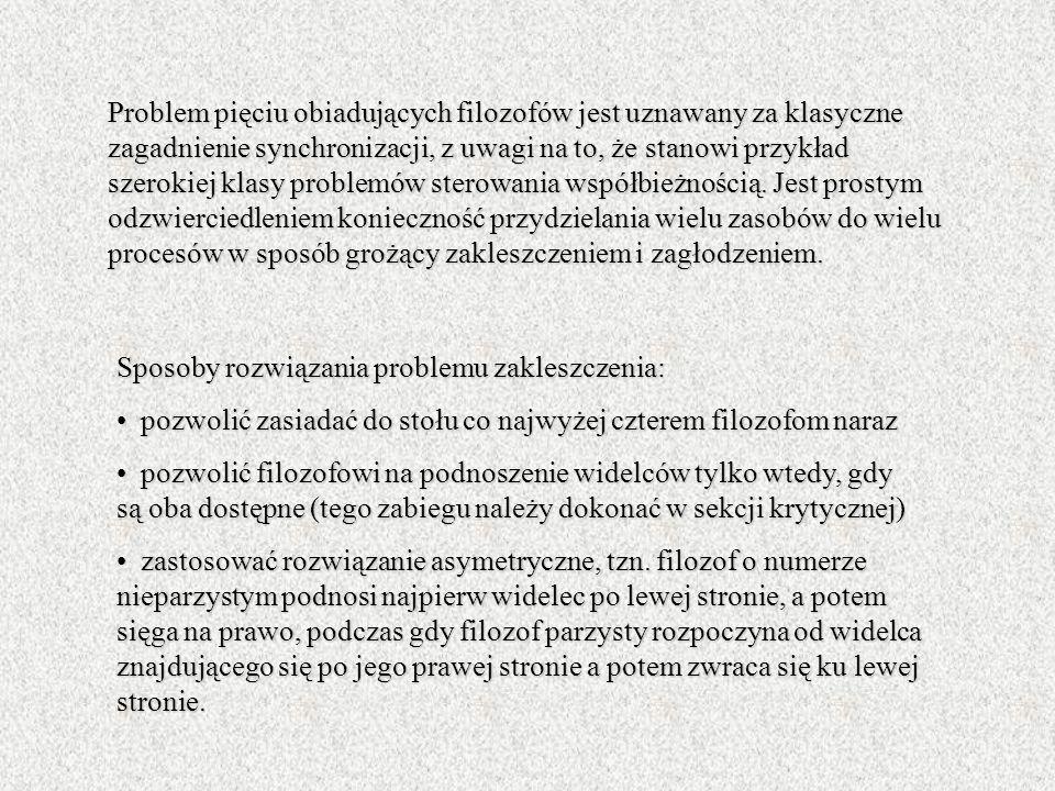 Problem pięciu obiadujących filozofów jest uznawany za klasyczne zagadnienie synchronizacji, z uwagi na to, że stanowi przykład szerokiej klasy proble
