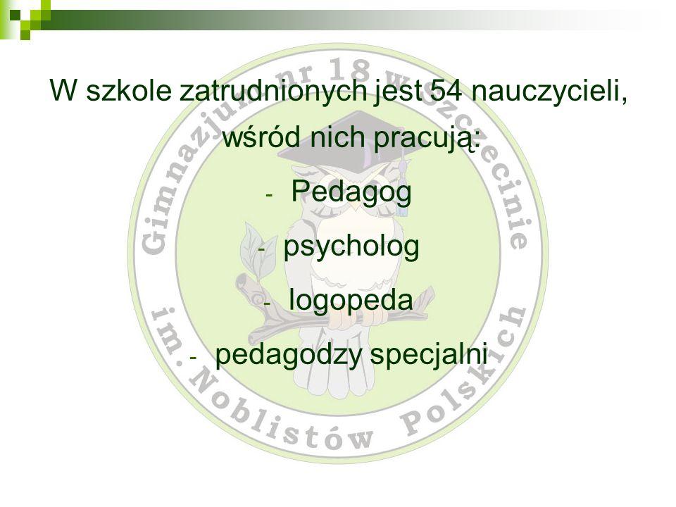 W szkole zatrudnionych jest 54 nauczycieli, wśród nich pracują: - Pedagog - psycholog - logopeda - pedagodzy specjalni