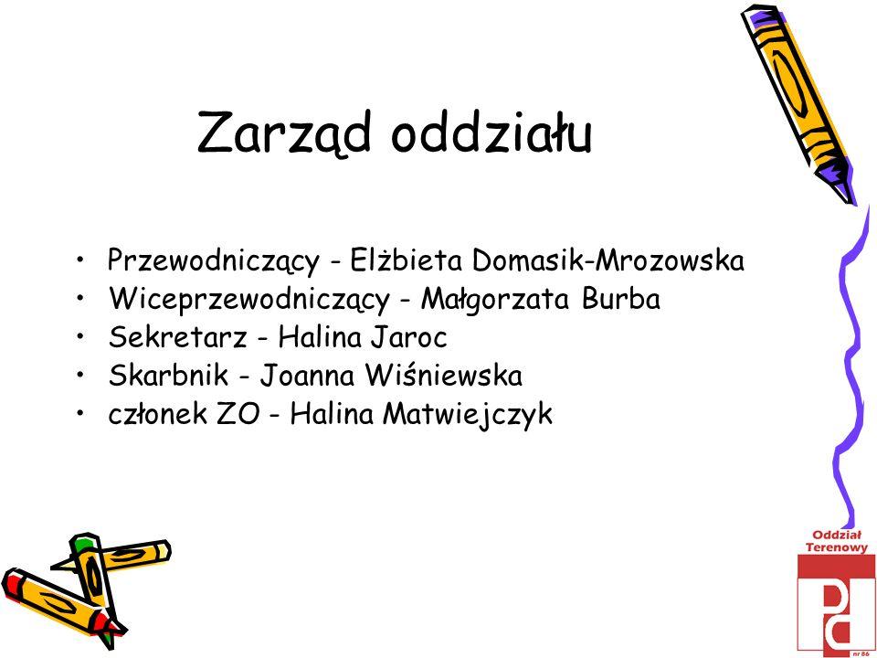 Zarząd oddziału Przewodniczący - Elżbieta Domasik-Mrozowska Wiceprzewodniczący - Małgorzata Burba Sekretarz - Halina Jaroc Skarbnik - Joanna Wiśniewsk