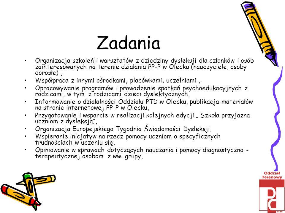 Zadania Organizacja szkoleń i warsztatów z dziedziny dysleksji dla członków i osób zainteresowanych na terenie działania PP-P w Olecku (nauczyciele, o