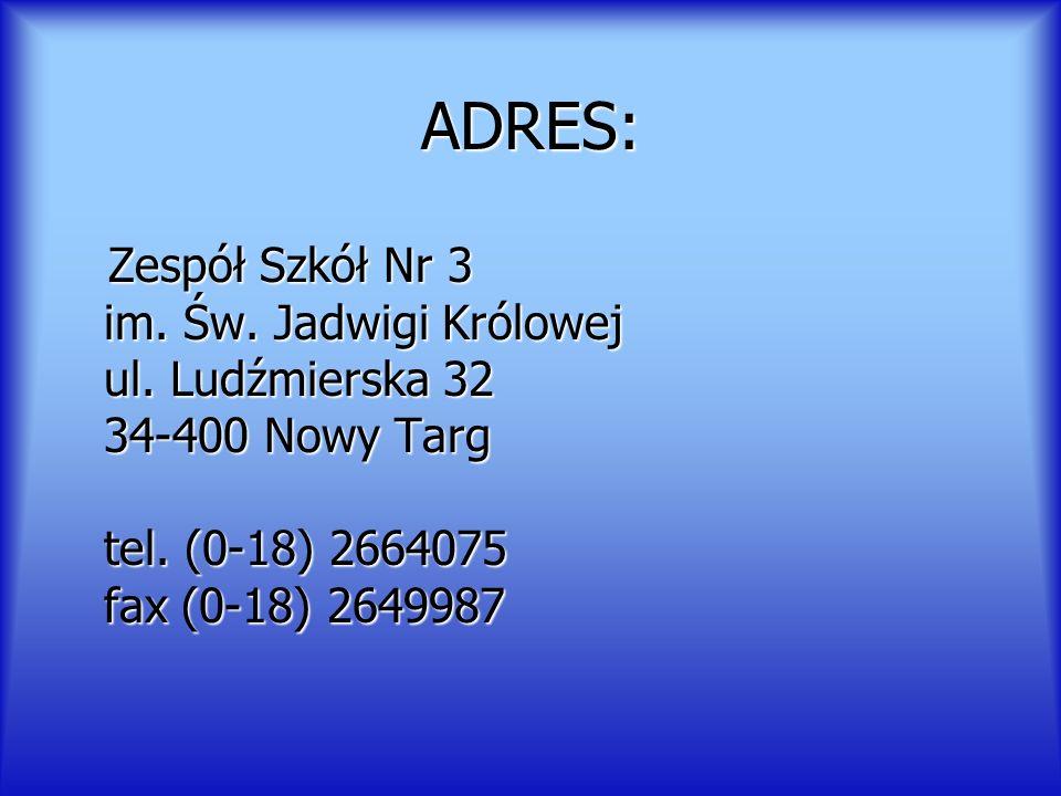 ADRES: Zespół Szkół Nr 3 im. Św. Jadwigi Królowej ul. Ludźmierska 32 34-400 Nowy Targ tel. (0-18) 2664075 fax (0-18) 2649987 Zespół Szkół Nr 3 im. Św.
