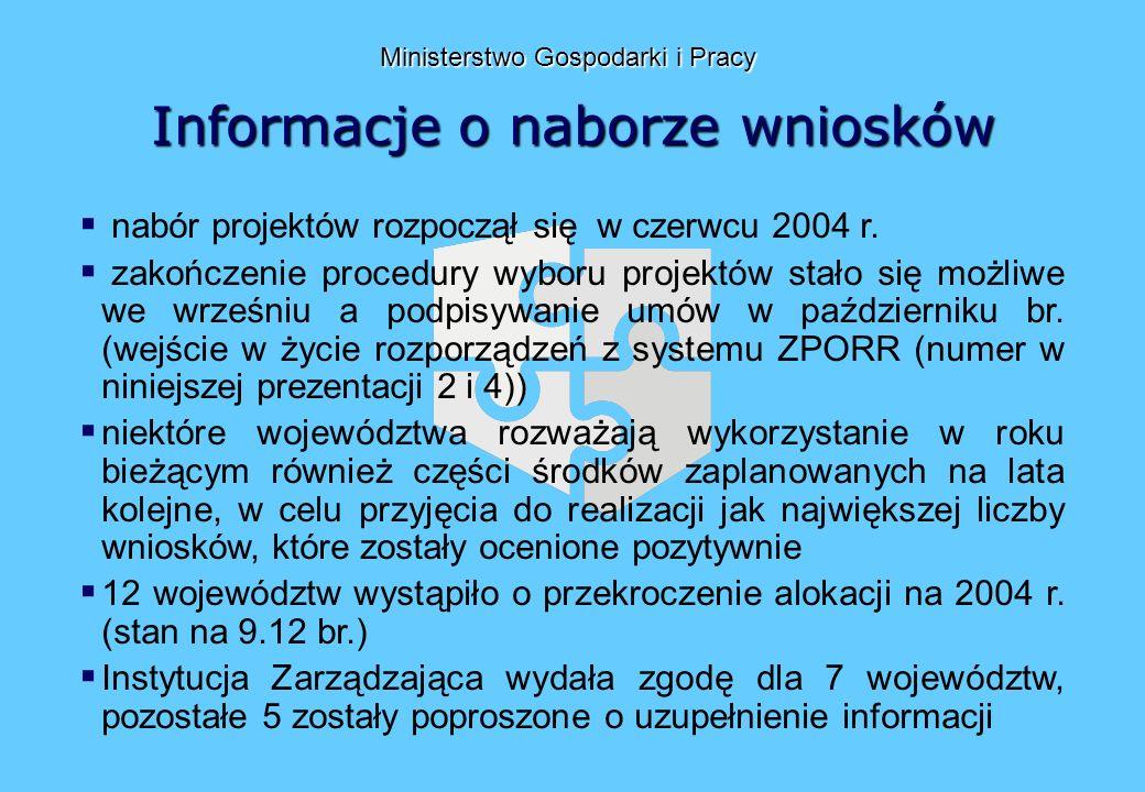 Informacje o naborze wniosków Ministerstwo Gospodarki i Pracy nabór projektów rozpoczął się w czerwcu 2004 r.