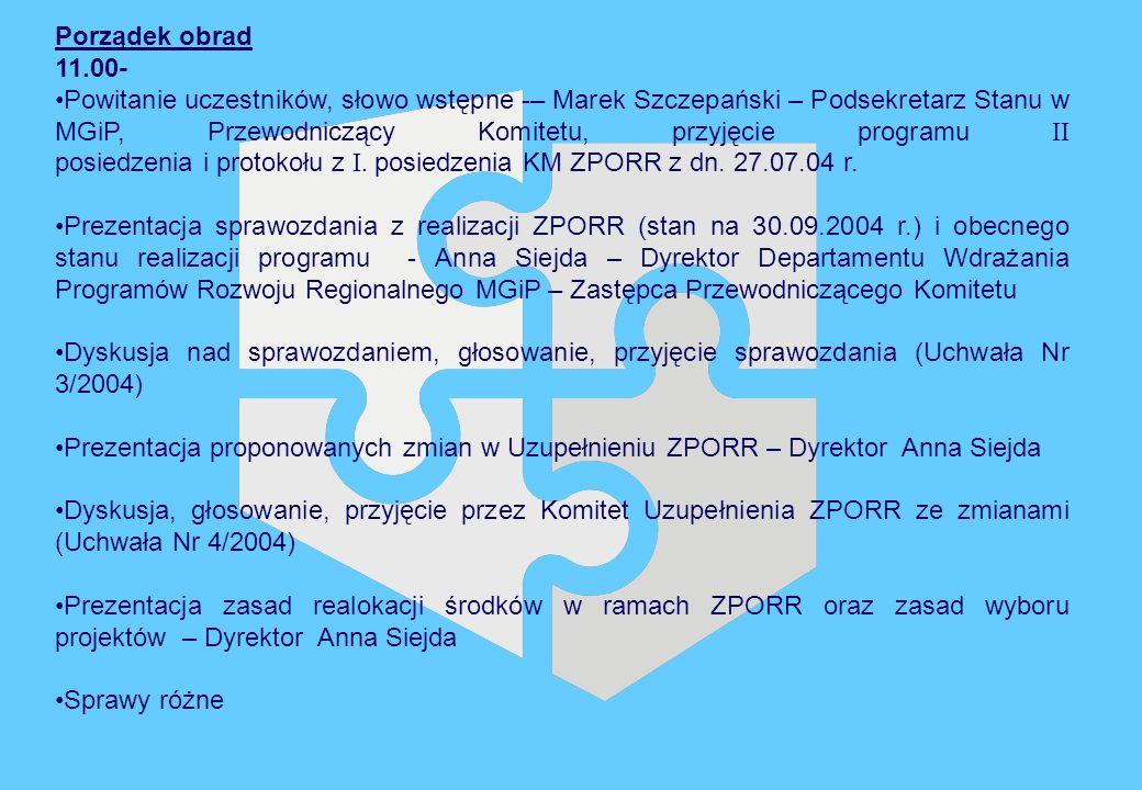 Ministerstwo Gospodarki i Pracy Informacja i promocja (3) Departament Wdrażania Programów Rozwoju Regionalnego Powyższe informacje pochodzą ze sprawozdania okresowego wg stanu na dzień 30 września 2004 roku.