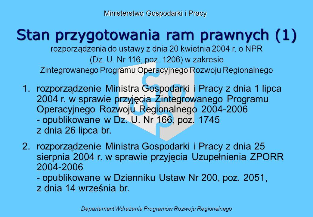 Stan przygotowania ram prawnych (1) Departament Wdrażania Programów Rozwoju Regionalnego Ministerstwo Gospodarki i Pracy rozporządzenia do ustawy z dnia 20 kwietnia 2004 r.