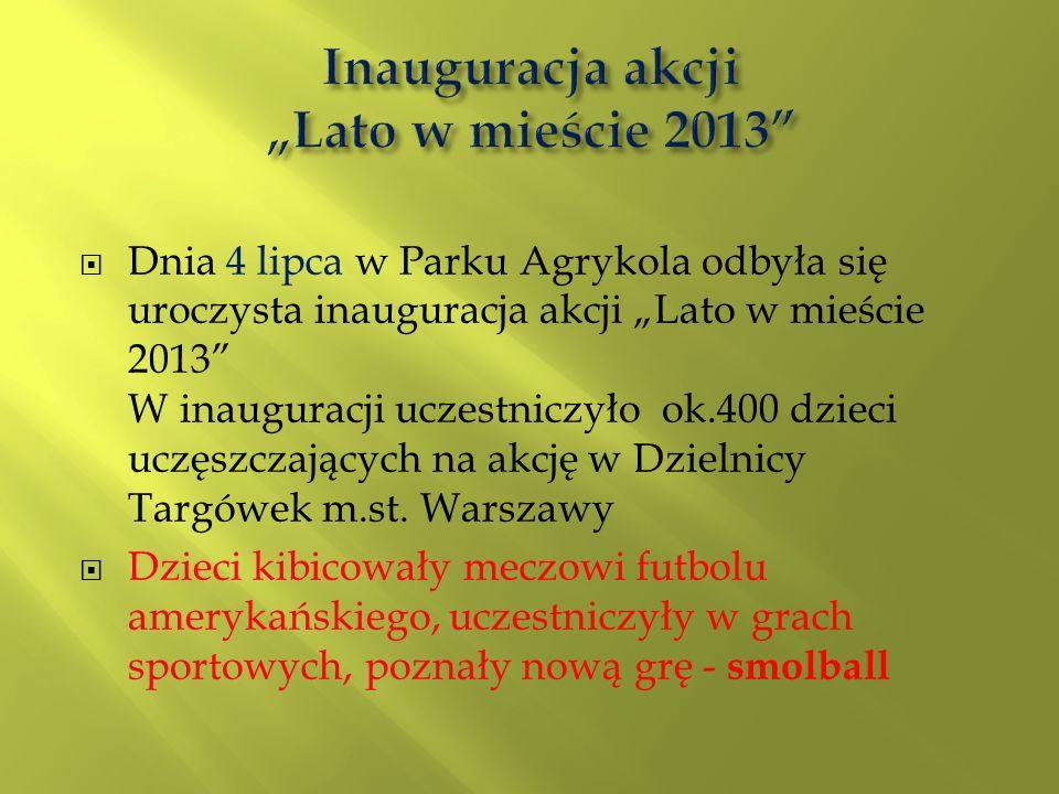 Dnia 4 lipca w Parku Agrykola odbyła się uroczysta inauguracja akcji Lato w mieście 2013 W inauguracji uczestniczyło ok.400 dzieci uczęszczających na akcję w Dzielnicy Targówek m.st.
