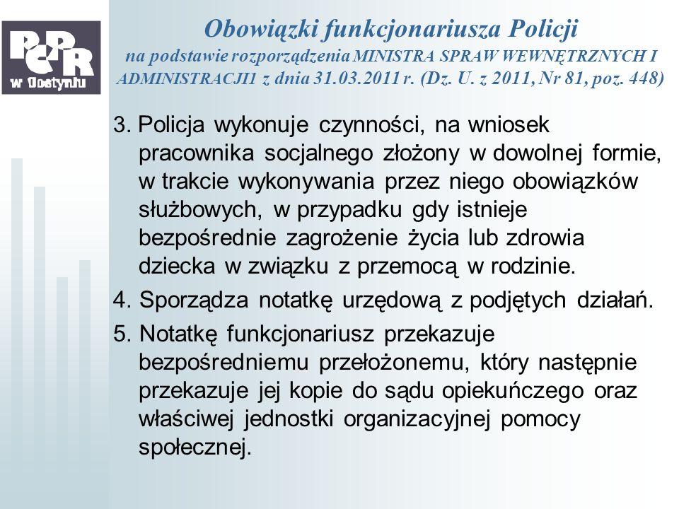 Obowiązki funkcjonariusza Policji na podstawie rozporządzenia MINISTRA SPRAW WEWNĘTRZNYCH I ADMINISTRACJI1 z dnia 31.03.2011 r. (Dz. U. z 2011, Nr 81,