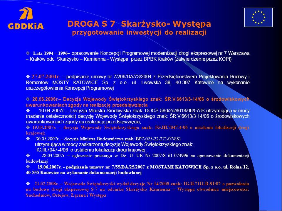 DROGA S 7 Skarżysko- Występa przygotowanie inwestycji do realizacji Lata 1994 - 1996 – opracowanie Koncepcji Programowej modernizacji drogi ekspresowe