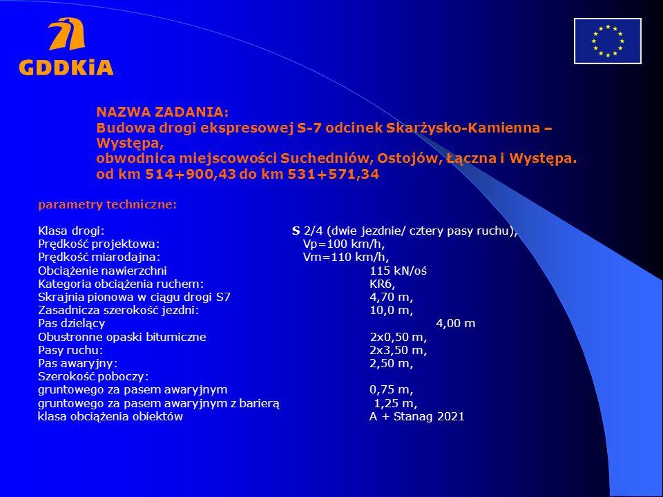 NAZWA ZADANIA: Budowa drogi ekspresowej S-7 odcinek Skarżysko-Kamienna – Występa, obwodnica miejscowości Suchedniów, Ostojów, Łączna i Występa. od km