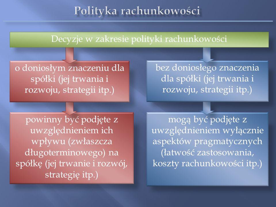 W pewnych przypadkach wybór polityki rachunkowości wpływa znacząco na kwoty prezentowane w sprawozdaniu finansowym, a przez to na decyzje użytkowników