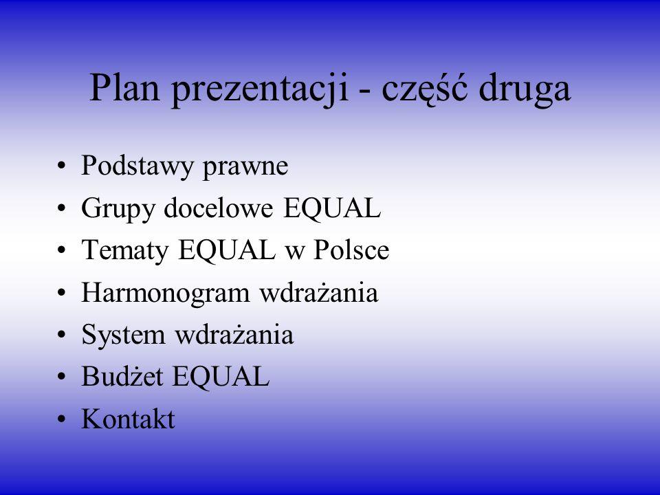 Plan prezentacji - część druga Podstawy prawne Grupy docelowe EQUAL Tematy EQUAL w Polsce Harmonogram wdrażania System wdrażania Budżet EQUAL Kontakt