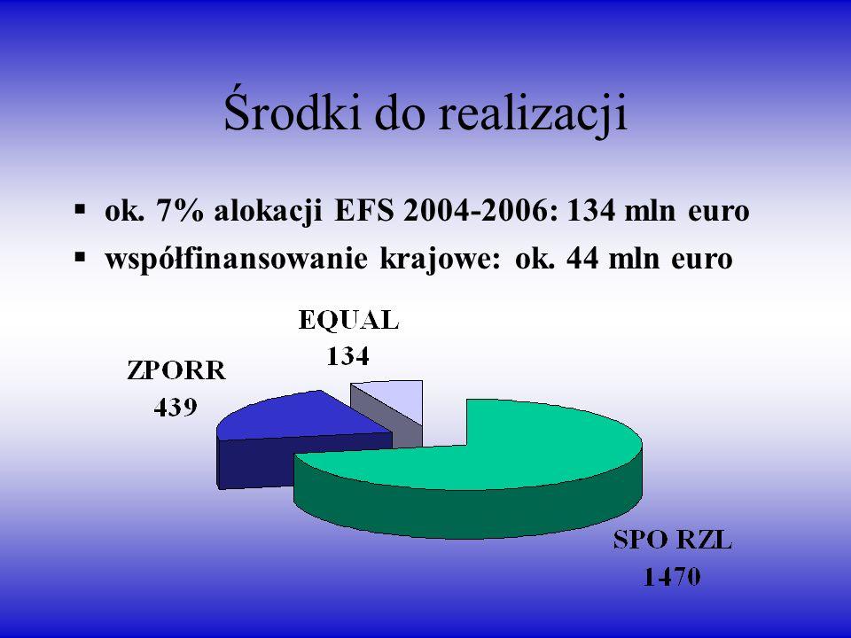 Środki do realizacji ok. 7% alokacji EFS 2004-2006: 134 mln euro współfinansowanie krajowe: ok.
