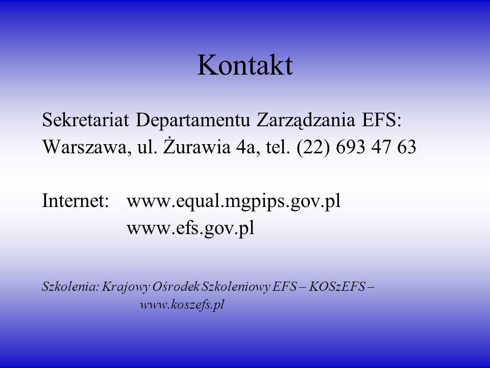 Kontakt Sekretariat Departamentu Zarządzania EFS: Warszawa, ul.