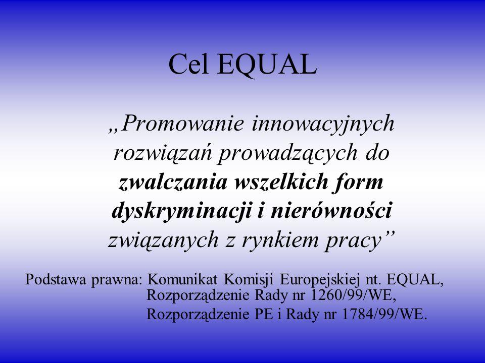 Cel EQUAL Promowanie innowacyjnych rozwiązań prowadzących do zwalczania wszelkich form dyskryminacji i nierówności związanych z rynkiem pracy Podstawa prawna: Komunikat Komisji Europejskiej nt.