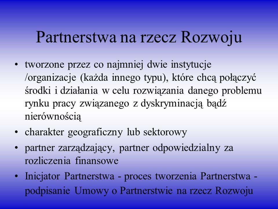 Partnerstwa na rzecz Rozwoju tworzone przez co najmniej dwie instytucje /organizacje (każda innego typu), które chcą połączyć środki i działania w celu rozwiązania danego problemu rynku pracy związanego z dyskryminacją bądź nierównością charakter geograficzny lub sektorowy partner zarządzający, partner odpowiedzialny za rozliczenia finansowe Inicjator Partnerstwa - proces tworzenia Partnerstwa - podpisanie Umowy o Partnerstwie na rzecz Rozwoju