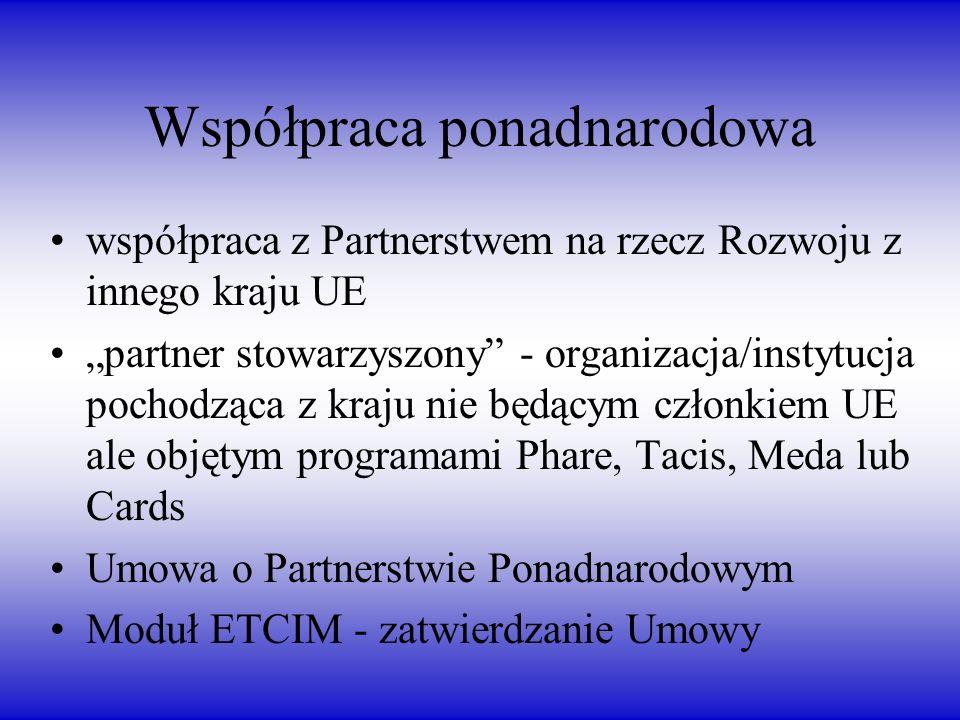 Współpraca ponadnarodowa współpraca z Partnerstwem na rzecz Rozwoju z innego kraju UE partner stowarzyszony - organizacja/instytucja pochodząca z kraju nie będącym członkiem UE ale objętym programami Phare, Tacis, Meda lub Cards Umowa o Partnerstwie Ponadnarodowym Moduł ETCIM - zatwierdzanie Umowy