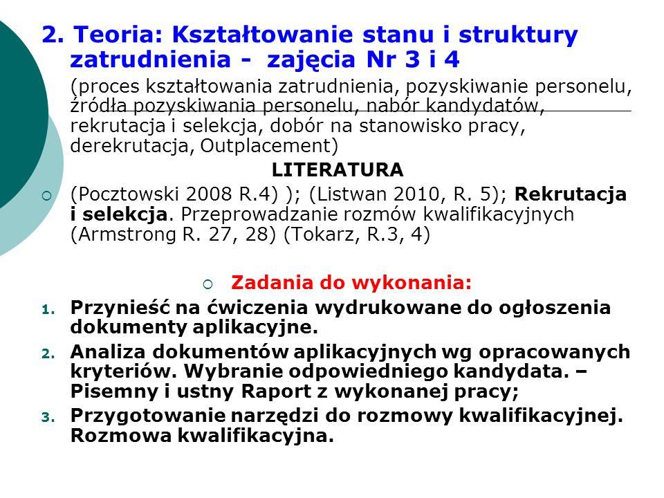 2. Teoria: Kształtowanie stanu i struktury zatrudnienia - zajęcia Nr 3 i 4 (proces kształtowania zatrudnienia, pozyskiwanie personelu, źródła pozyskiw