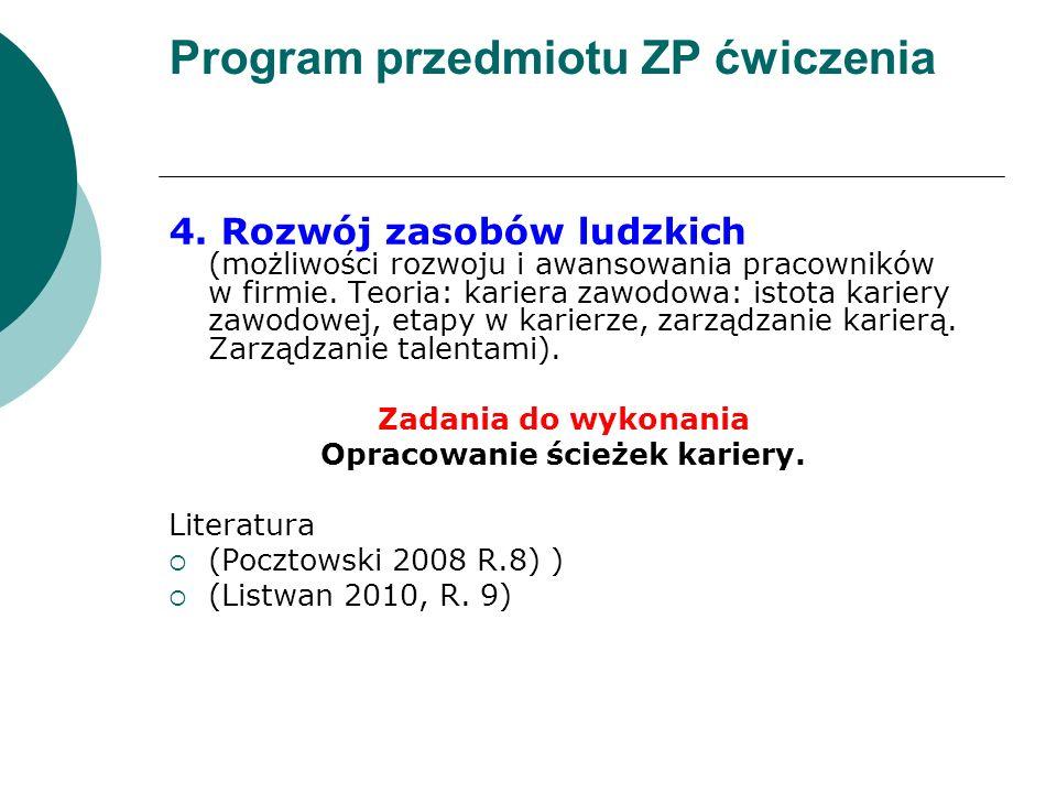 Program przedmiotu ZP ćwiczenia 4. Rozwój zasobów ludzkich (możliwości rozwoju i awansowania pracowników w firmie. Teoria: kariera zawodowa: istota ka