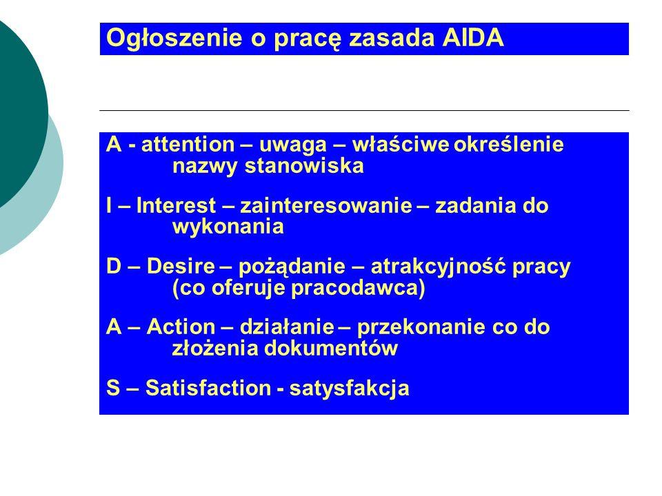 Ogłoszenie o pracę zasada AIDA A - attention – uwaga – właściwe określenie nazwy stanowiska I – Interest – zainteresowanie – zadania do wykonania D –