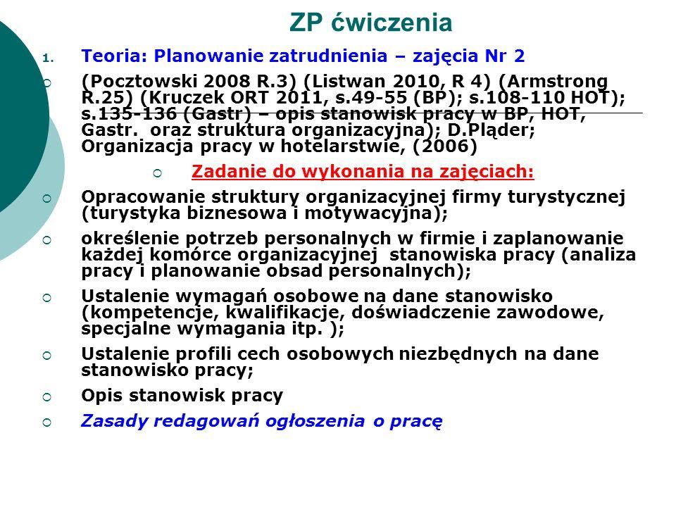 1. Teoria: Planowanie zatrudnienia – zajęcia Nr 2 (Pocztowski 2008 R.3) (Listwan 2010, R 4) (Armstrong R.25) (Kruczek ORT 2011, s.49-55 (BP); s.108-11