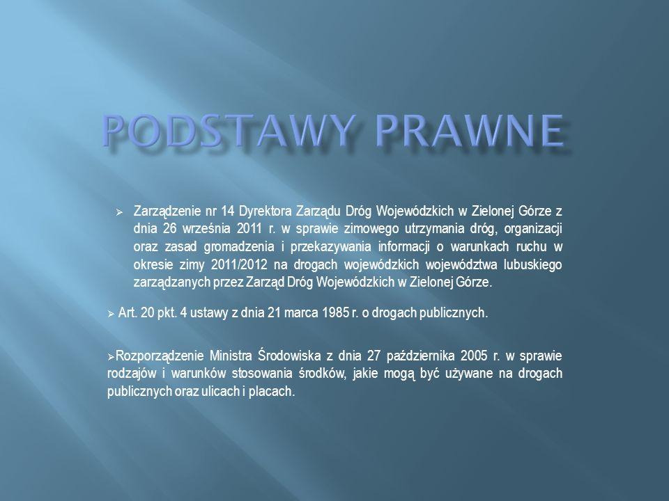 Zarządzenie nr 14 Dyrektora Zarządu Dróg Wojewódzkich w Zielonej Górze z dnia 26 września 2011 r. w sprawie zimowego utrzymania dróg, organizacji oraz
