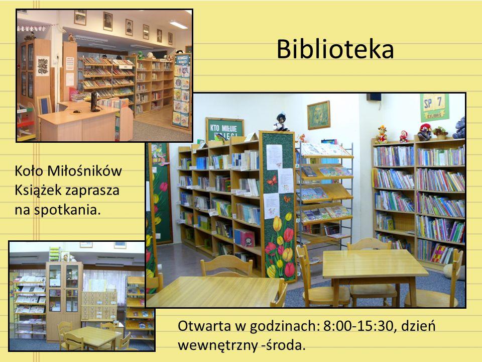 Biblioteka Otwarta w godzinach: 8:00-15:30, dzień wewnętrzny -środa. Koło Miłośników Książek zaprasza na spotkania.