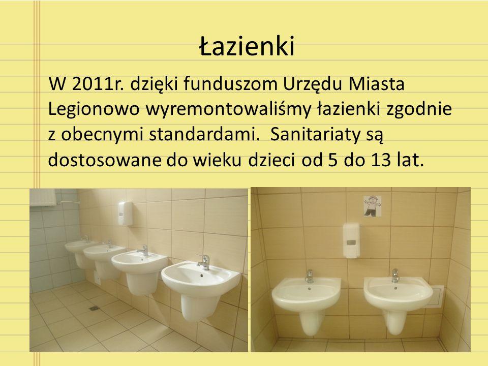 Łazienki W 2011r. dzięki funduszom Urzędu Miasta Legionowo wyremontowaliśmy łazienki zgodnie z obecnymi standardami. Sanitariaty są dostosowane do wie