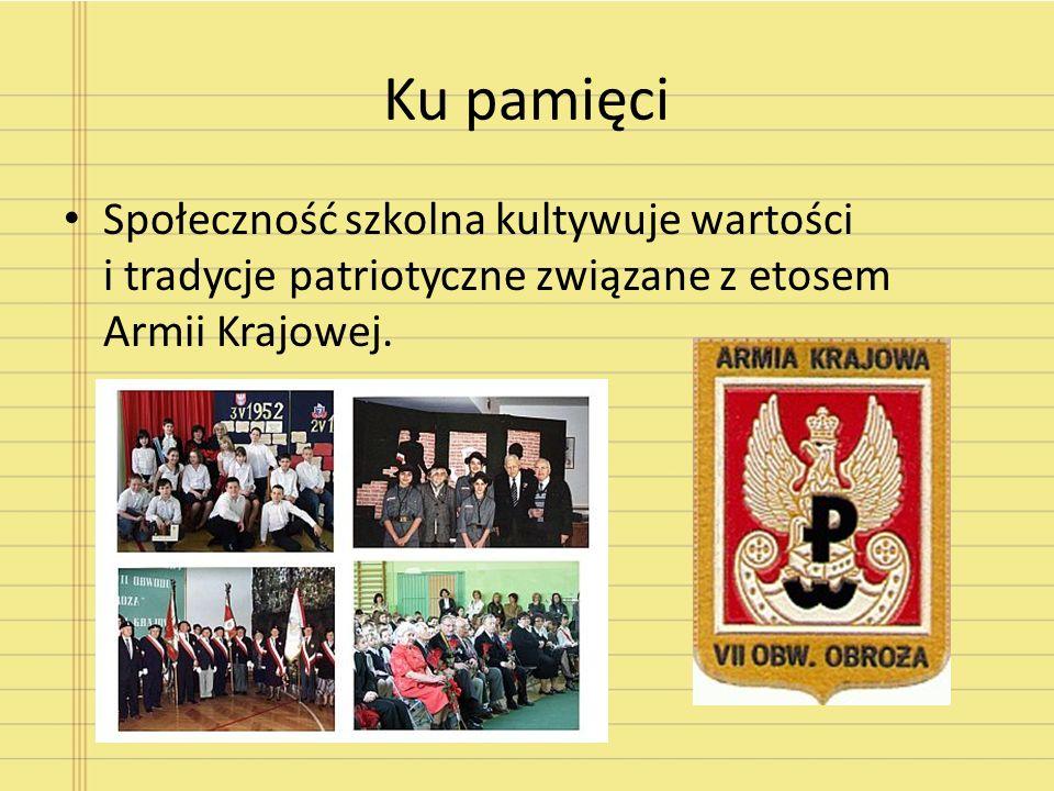 Ku pamięci Społeczność szkolna kultywuje wartości i tradycje patriotyczne związane z etosem Armii Krajowej.