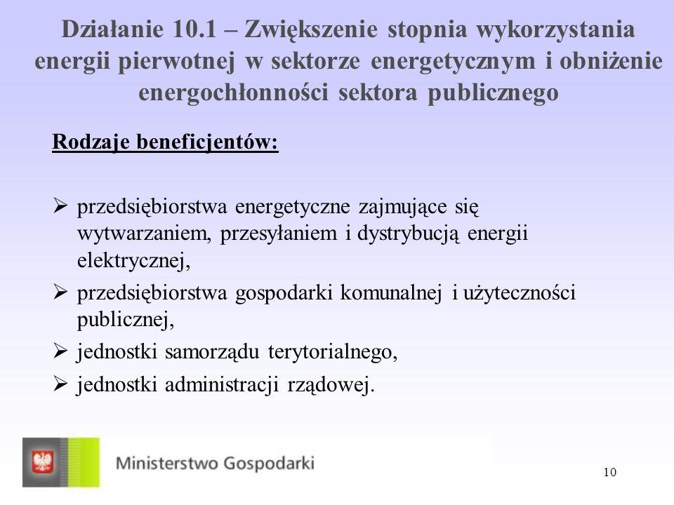 10 Działanie 10.1 – Zwiększenie stopnia wykorzystania energii pierwotnej w sektorze energetycznym i obniżenie energochłonności sektora publicznego Rod