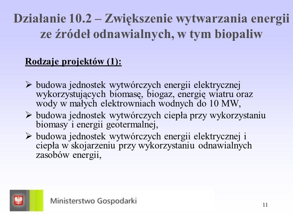 11 Działanie 10.2 – Zwiększenie wytwarzania energii ze źródeł odnawialnych, w tym biopaliw Rodzaje projektów (1): budowa jednostek wytwórczych energii