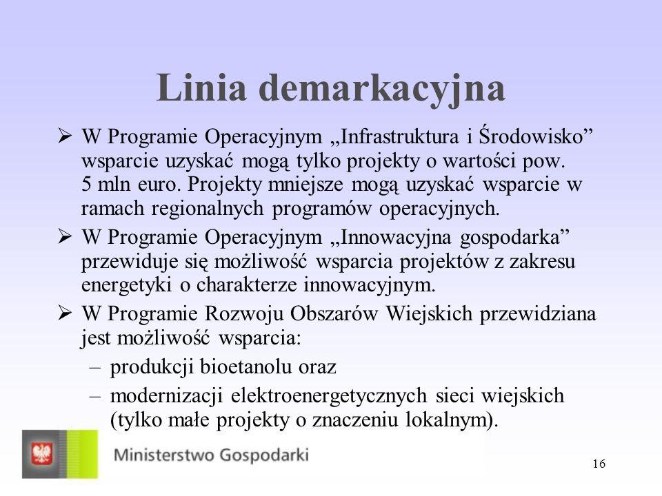 16 Linia demarkacyjna W Programie Operacyjnym Infrastruktura i Środowisko wsparcie uzyskać mogą tylko projekty o wartości pow. 5 mln euro. Projekty mn