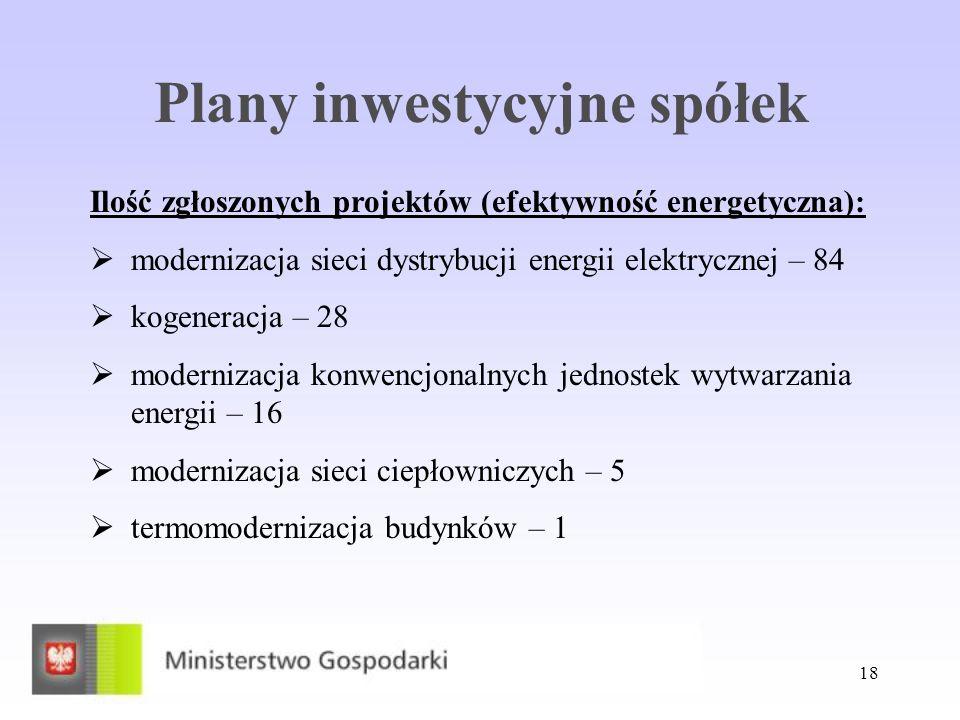 18 Plany inwestycyjne spółek Ilość zgłoszonych projektów (efektywność energetyczna): modernizacja sieci dystrybucji energii elektrycznej – 84 kogenera