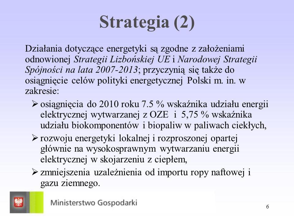 6 Strategia (2) Działania dotyczące energetyki są zgodne z założeniami odnowionej Strategii Lizbońskiej UE i Narodowej Strategii Spójności na lata 200