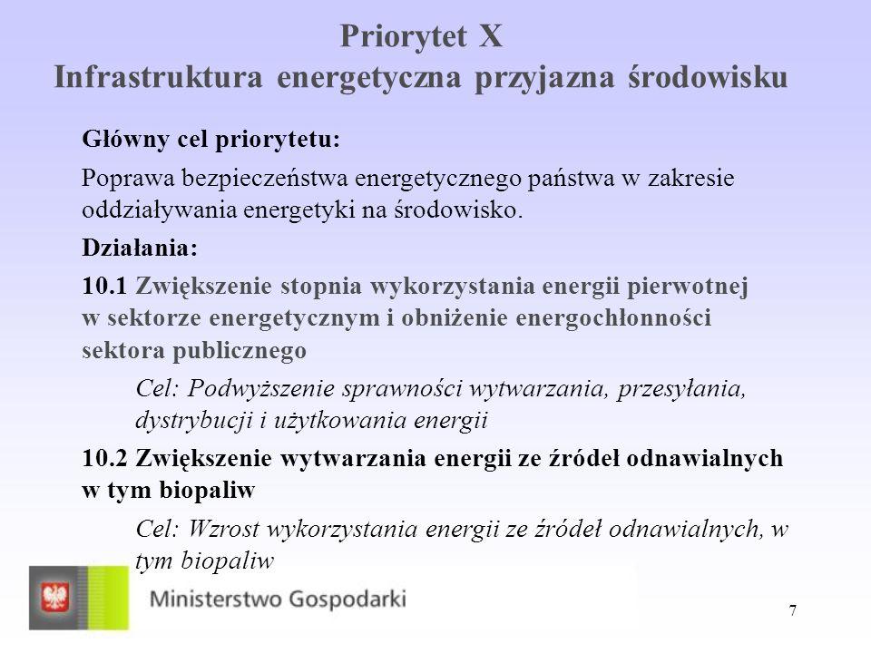 7 Priorytet X Infrastruktura energetyczna przyjazna środowisku Główny cel priorytetu: Poprawa bezpieczeństwa energetycznego państwa w zakresie oddział