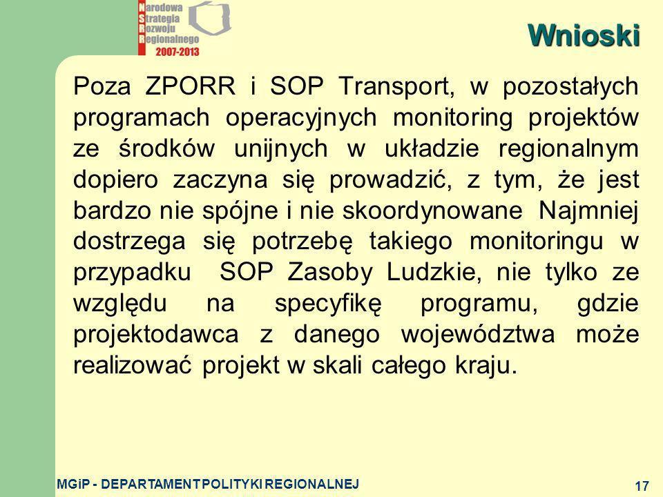 MGiP - DEPARTAMENT POLITYKI REGIONALNEJ 17 Poza ZPORR i SOP Transport, w pozostałych programach operacyjnych monitoring projektów ze środków unijnych