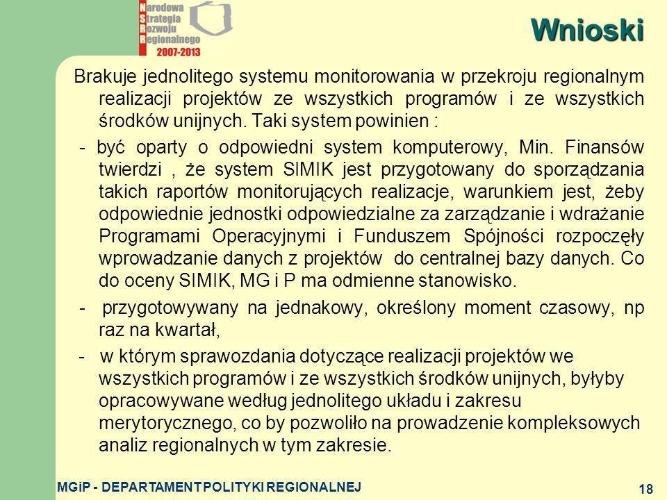 MGiP - DEPARTAMENT POLITYKI REGIONALNEJ 18 Brakuje jednolitego systemu monitorowania w przekroju regionalnym realizacji projektów ze wszystkich progra