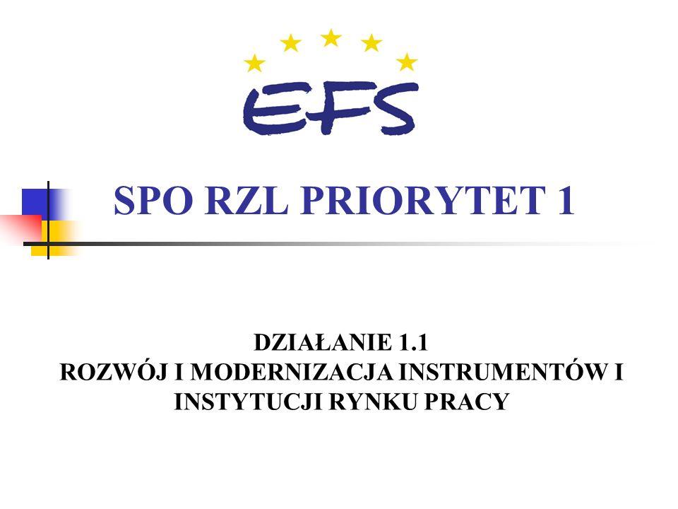 18 Sektorowy Program Operacyjny Rozwój Zasobów Ludzkich 2004-2006 Plan finansowy Priorytetu 1 = 956,6 mln EURO 1.1 = 119 1.2 = 274 1.3 = 264 1.4 = 106
