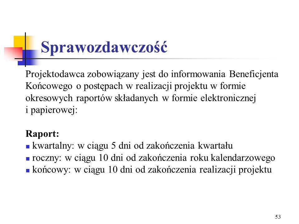 52 Projekt – ważne szczegóły czas trwania do 31 marca 2008 r. (zgodnie z zasadą n+2 nie dłużej niż 3 lata) minimalna wartość projektu 15 000 EUR partn