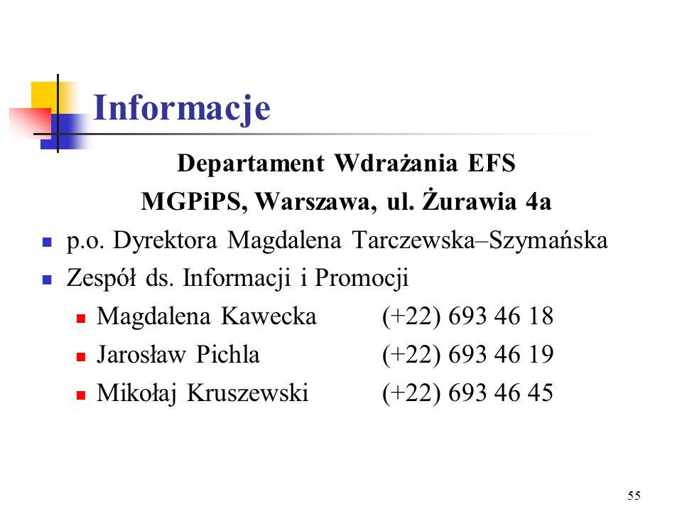 54 Kontrola Finansowa Instytucje kontrolne: Beneficjent Końcowy danego Działania Jednostka Monitorująco - Kontrolna EFS (MGPiPS) Urząd Kontroli Skarbo