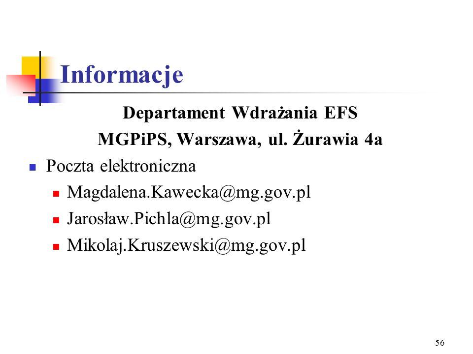 55 Informacje Departament Wdrażania EFS MGPiPS, Warszawa, ul. Żurawia 4a p.o. Dyrektora Magdalena Tarczewska–Szymańska Zespół ds. Informacji i Promocj