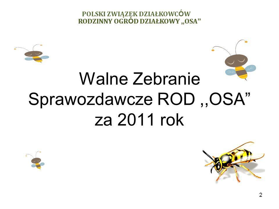 Walne Zebranie Sprawozdawcze ROD,,OSA za 2011 rok 2 RODZINNY OGR Ó D DZIAŁKOWY OSA POLSKI ZWIĄZEK DZIAŁKOWC Ó W RODZINNY OGR Ó D DZIAŁKOWY OSA